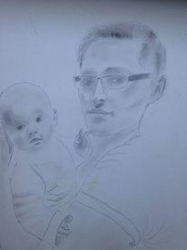 Bleistiftzeichnung, Portrait, Menschen, Karton