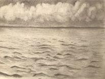 Wasser, Zeichnung, Bleistiftzeichnung, Wolken