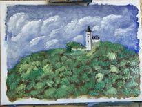 Aquarellmalerei, Wolken, Landschaft, Aquarell