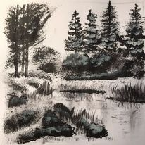 Landschaft, Tusche, Wasser, Zeichnungen