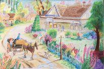Zeichnung, Pferde, Blumen, Natur