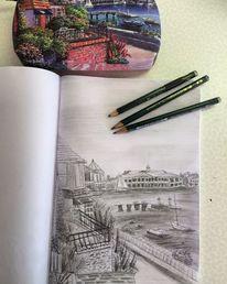 Pfeiler, Skizze, Hafen, Bleistiftzeichnung