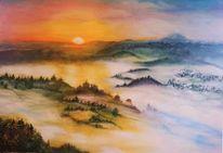 Über den wolken, Malerei, Natur, Sonne