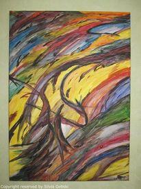 Rosa, Acrylmalerei, Orange, Grün
