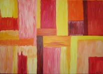 Rosa, Gelb, Orange, Acrylmalerei
