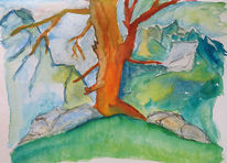Aquarell, Alter, Baum