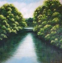 Flusslandschaft, Wasser, Wasserspiegelung, Malerei