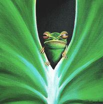 Frosch, Blätter, Grün, Malerei