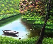Baum, Flusslandschaft, Wasser, Wald