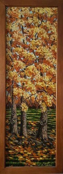 Herbst, Baum, Wiese, Malerei