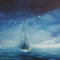 Meer, Blau, Schiff, Malerei
