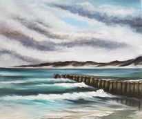 Welle, Buhne, Meer, Malerei