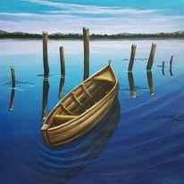 Boot, Himmel, See, Wasser