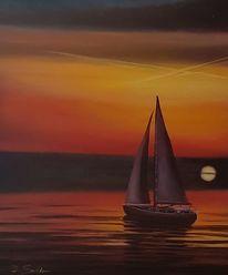 Segelboot, Meer, Abend, Sonnenuntergang