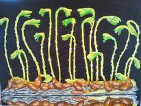 Pflanzen, Ölmalerei, Leinen, Kraut