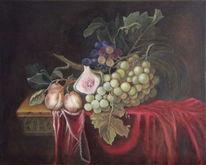 Obst, Weintrauben, Blätter, Malerei