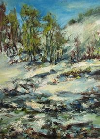 Oil on canvas, Stein, Blau, Schnee