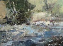 Fluss, Landschaft, Ölmalerei, Malerei