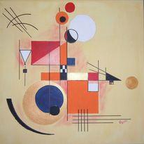 Acrylmalerei, Weiß, Kreis dreieck, Rechteck