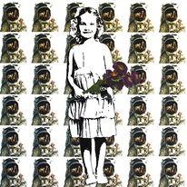Austronauten, Aktion, Kind, Blumen