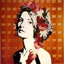Frau, Malerei, Blumen, Zeichnung