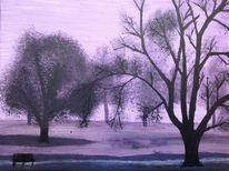 Acrylmalerei, Baum, Landschaft, Nebel