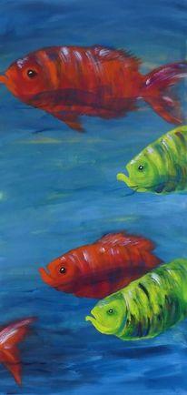 Fisch, Orange, Weiß, Modern