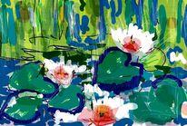 Teich, See rosen, Grün, Malerei