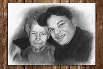 Kohlezeichnung, Portrait, Alt, Frau
