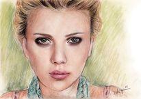 Zeichnung, Frau, Pastellmalerei, Scarlett johansson