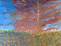 Baum, Fantasie, Landschaft, Malerei