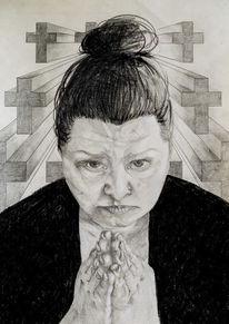 Selbstportrait, Zeichnung, Kohlezeichnung, Bleistiftzeichnung