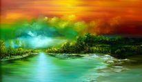 Landschap, 3d, Natur, Malerei
