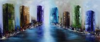 Fantasie, Malerei, Stadt, Skyline