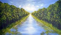 Surreal, Acrylmalerei, Grün, Wasser