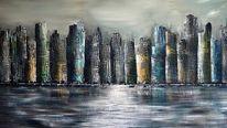 Gemälde, Skyline, Fantasie, Abstrakt