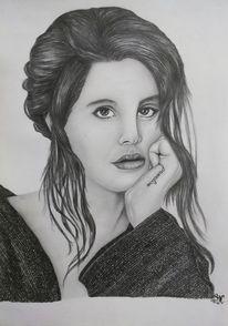 Portrait, Bleistiftzeichnung, Lana del rey, Frau