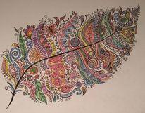 Blätter, Buntstifte, Schnörkel, Farben