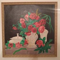 Stillleben, Ölmalerei, Rose, Glas