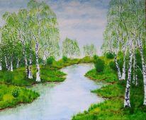 Bach, Frühling, Birken, Malerei