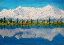 Baum, Schnee, Blauer himmel, Acrylmalerei