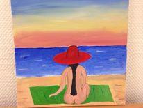Strand, Frau, Malerei, Wasser