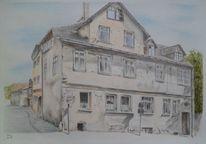 Straße, Buntstiftzeichnung, Haus, Stadt