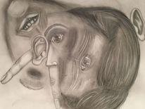 Bleistiftzeichnung, Sich verlieren, Hilflosigkeit, Zeichnung