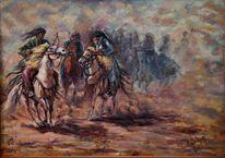 Krieger, Kampf, Pferde, Staub