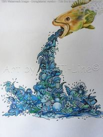 Pure water, Tierisches wimmelbild, Bunt, Mixed media