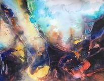 Explosion, Aquarellmalerei, Abstrakt, Aquarell