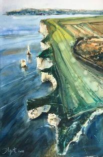 Meer, Aquarellmalerei, Küste, Aquarell