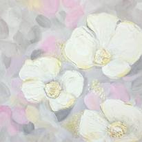 Mischtechnik, Gold, Rosa, Blumen
