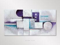 Türkis, Abstrakt, Silber, Acrylmalerei